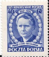 Affrancatura commemorativa con la quale la Polonia ricorda Marie Curie